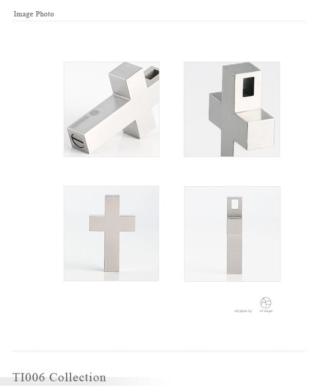 遺骨ペンダント アッシュイン 防水仕様  TI006 純チタン製 クロス型