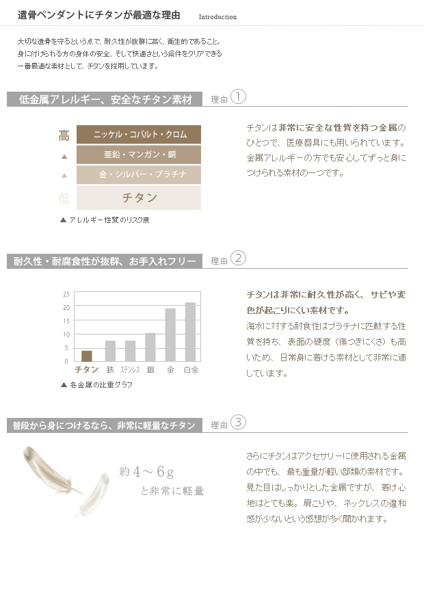 チタン製遺骨ペンダントの特性2