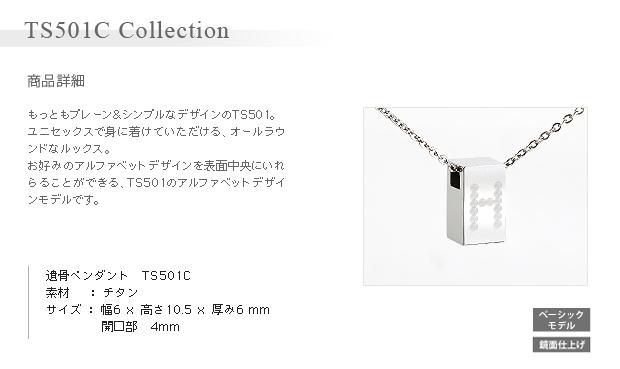 遺骨ペンダント アッシュイン 防水仕様 アルファベット  TS501C 純チタン製 角柱型