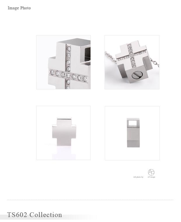 遺骨ペンダント アッシュイン 防水仕様 TS602 純チタン×ダイヤモンド クロス型