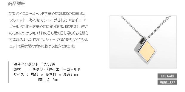 納骨ペンダント アッシュイン 防水仕様 TS703YG 純チタン×イエローゴールド ダイヤ型