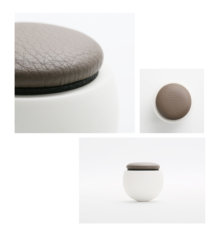 ミニ骨壷 陶器のお骨壷 ゆりかご 限定レザーモデル ダークブラウン