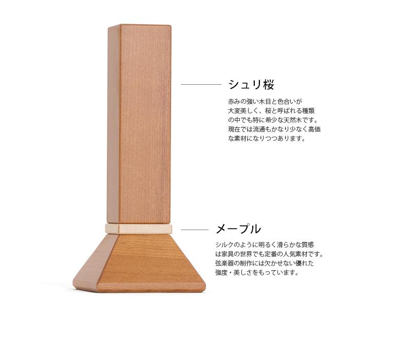 ましかくの位牌 3.5寸 シュリ桜 納骨できるお位牌 限定銘木 素材について