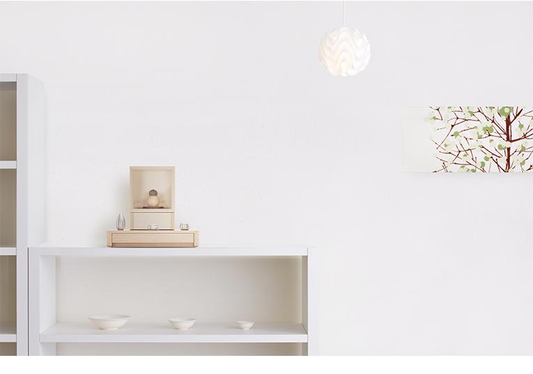 ミニ仏壇 A4仏壇 A4-005NA ナチュラル 専用ステージ台WHセット [A4サイズのお仏壇]