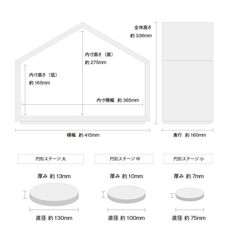 ミニ仏壇・デザイン仏壇 いのりのおうちワイド-ホワイトオーク 専用台セット サイズと仕様