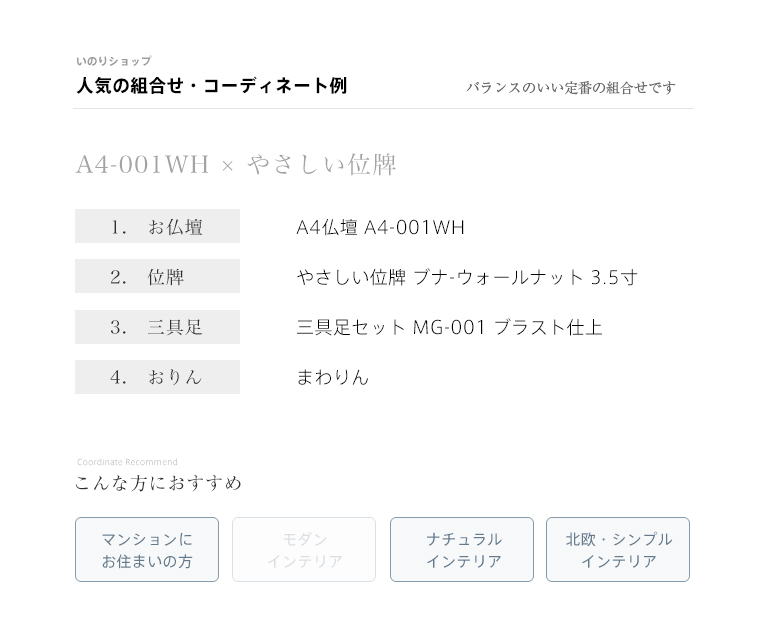 【定番の組み合わせ例】A4仏壇 A4-001WH/やさしい位牌3.5寸/三具足/おりん